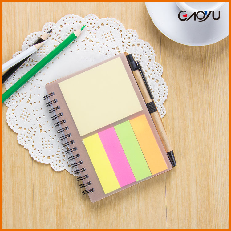 Beautiful fashion school hardcover vintage spiral notebook with sticky note