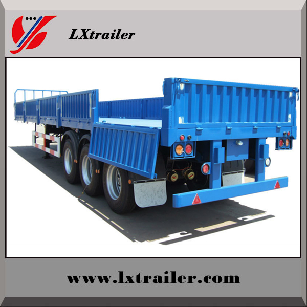 60Tons flatbed side wall open tri-axle light cargo truck trailer/vehicle