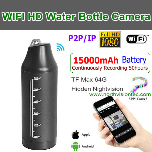 WI-1080T,WIFI Water Bottle Camera,15000 Battery Recording 50hour, 1080P/H.264,P2P/IP/WIFI,TF Max 64G
