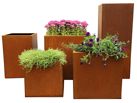 corten steel flower pots & planters