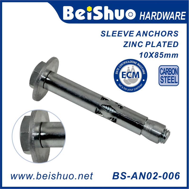 BS-AN02-006 hex nut type sleeve anchor with DIN9021 washer