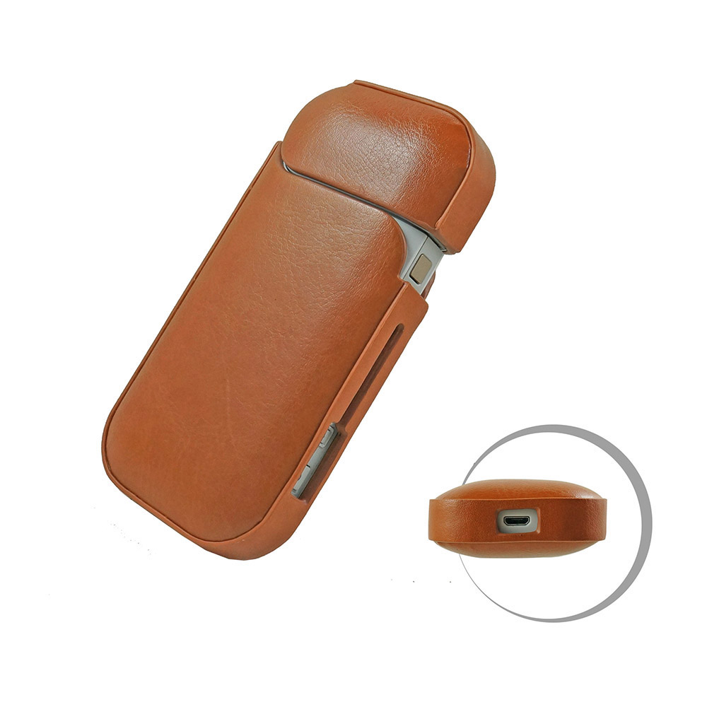 PU Brown Iqos Case Cover Lucid Portable Waterproof Dust Protector for Iqos