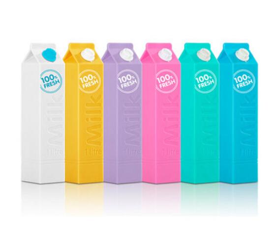 Customized logo 2600mAh cute milk box shape power bank portable