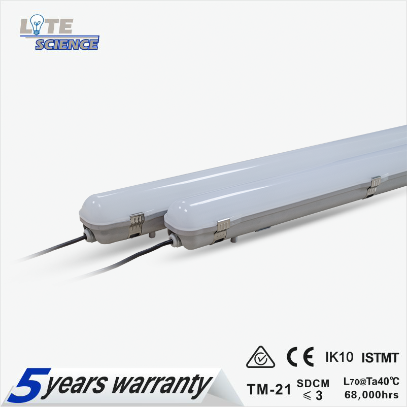 IP65 Led Tri-proof Light 600mm 1200mm 1500mm 130lm/w 5 Years Warranty
