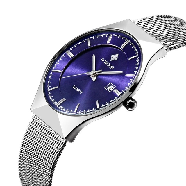 fashion slim stainless steel brief waterproof wristwatches