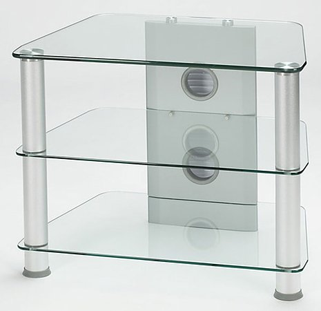 Classic Silver Metal/Clear Glass TV Stand