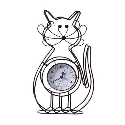 Metal Wire Black Cartoon Kitty Cat Design Tabletop Clock Home Decor Clock