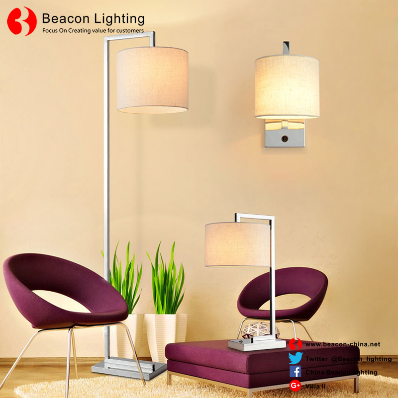 factory wholesale 201/304 stainless steel floor lamp with USB port socket for hotel guest room