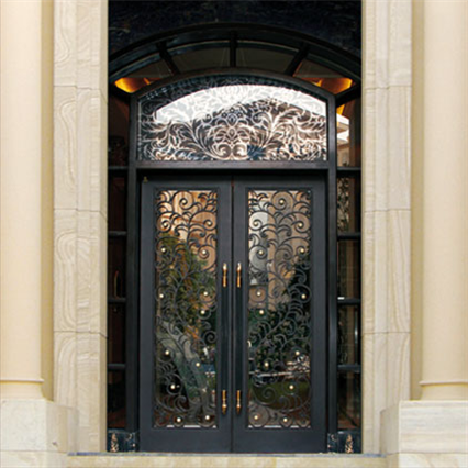 China Factory Direct Wrought Iron Double Entry Doors(JDL-1008)