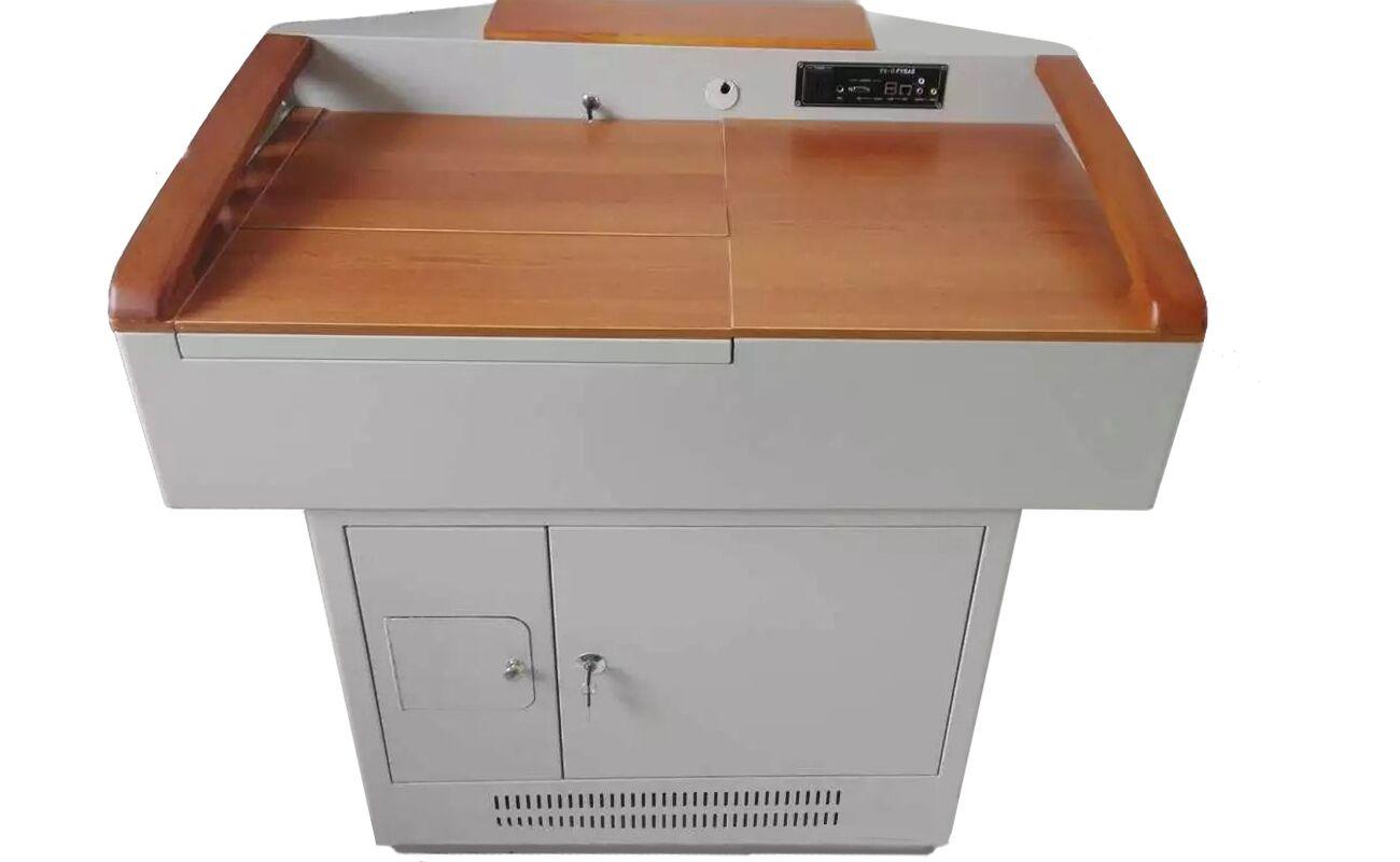 Upscale Wood-and-Steel Platform/Teacher's Desk/Lectern