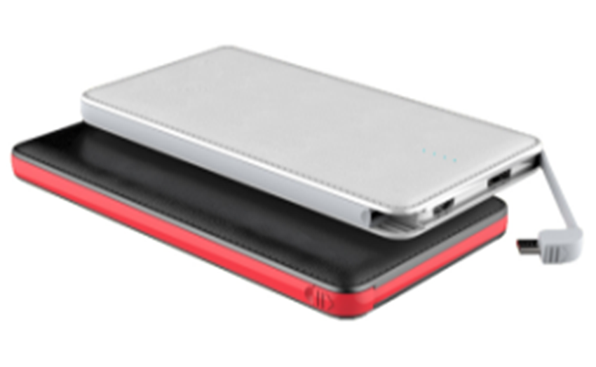 10000mah power bank with built in cable output & regular USB output