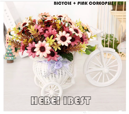 Rattan plaited bicycle artificial flower