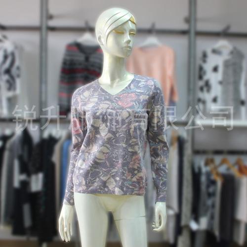 Womens V Neck Beautiful Sweater Fall/Winter Girls Pretty Fashion Printing Pattern Knit Tops