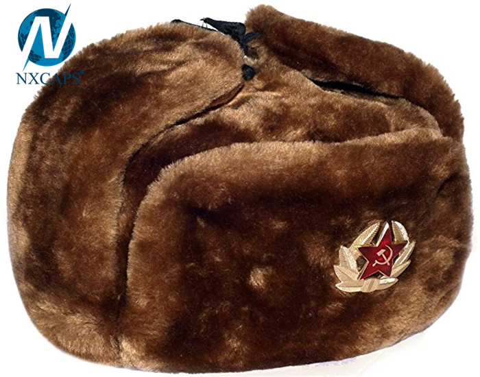 Real fur ushanka russian hat 2017 new arrival custom classic Russian military ushanka hat wholesale