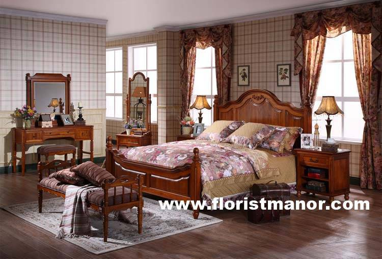 Full Solid Wood Home Bedroom Furniture Set Bed Night Stand Dressing Table Dresser Bm04