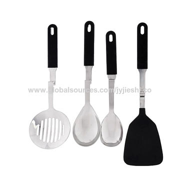 Sally 4 pieces high quality 18/10 stainless steel kitchenware sets with silicone handle