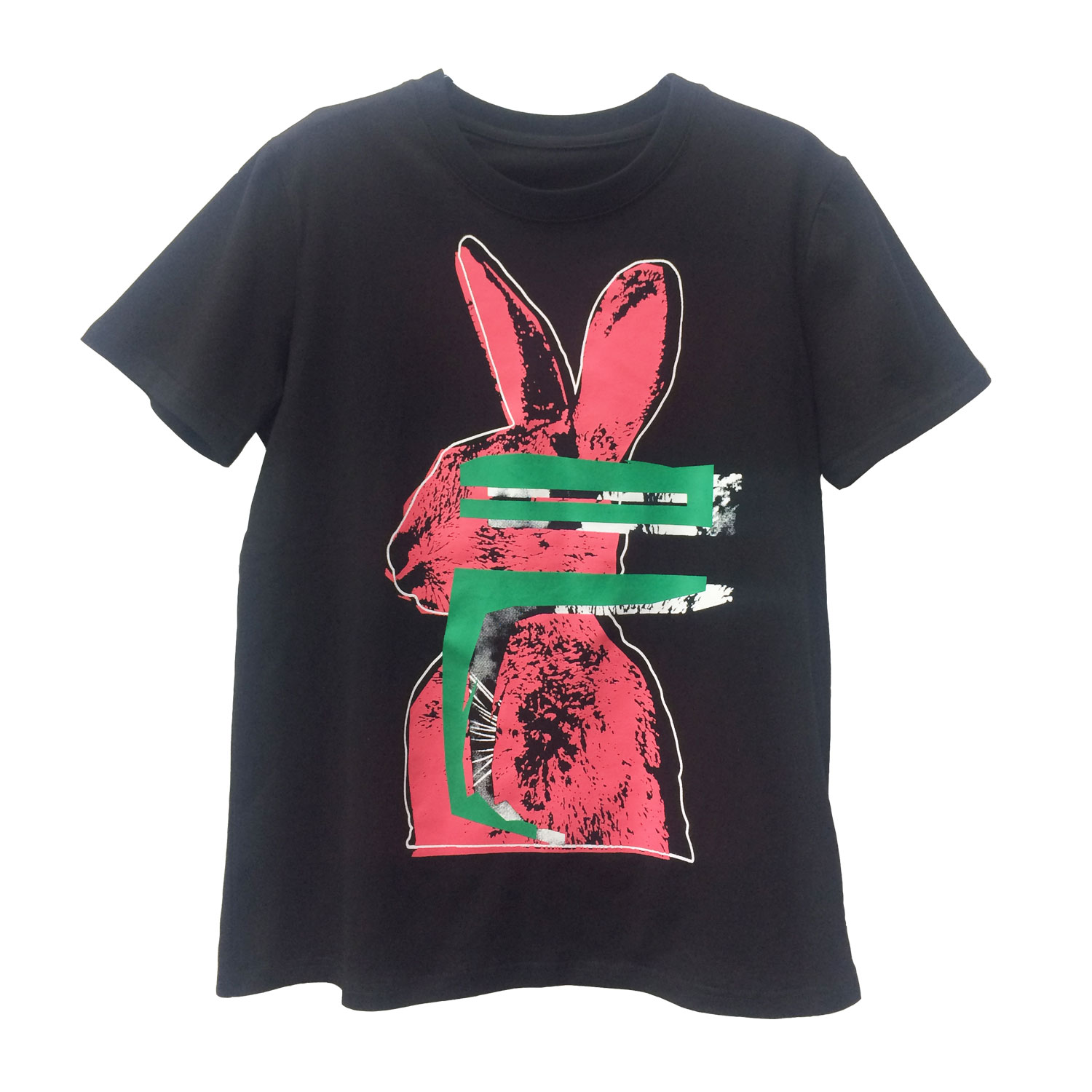 ningbo fuzhi garments women's black tee rabbit print short sleeve round neck t-shirt