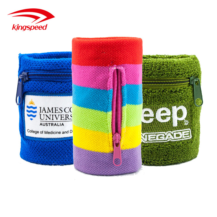 High quality terry cotton wrist bands for sports with zipper pocket