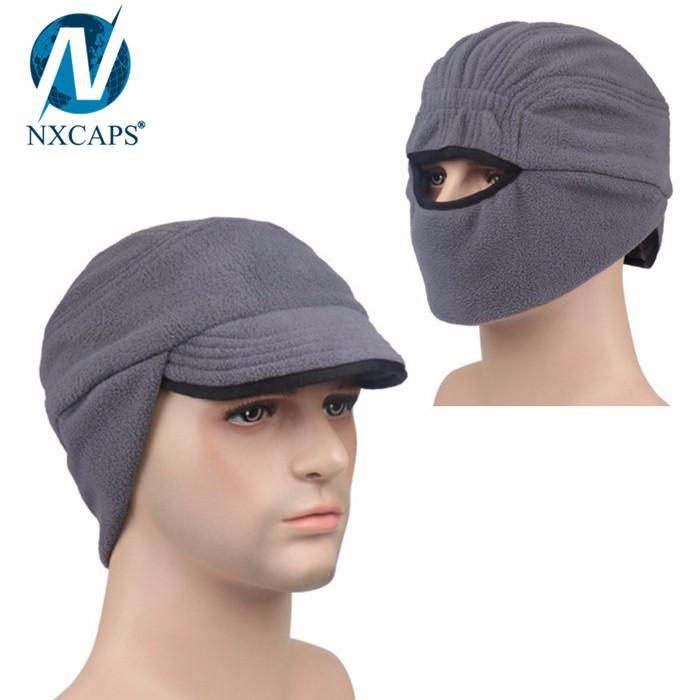 Windproof polar fleece cap with earflap hat thermal winter hat ski bike cycling sports hats