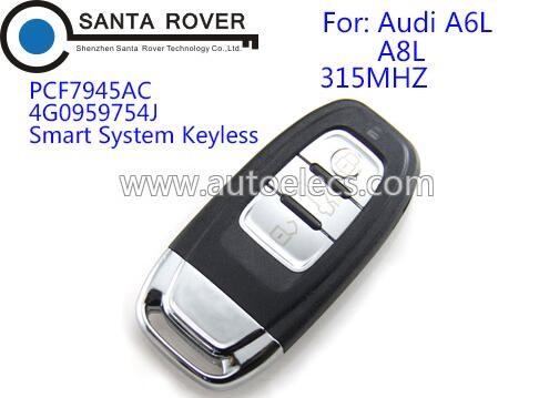 For audi A4L Q5 key entry smart remote 8k0959754G key fob 3 button 315Mhz with emergency key