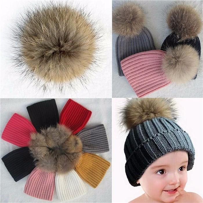 custom kids baby beanie hats fur pom knit beanie cap