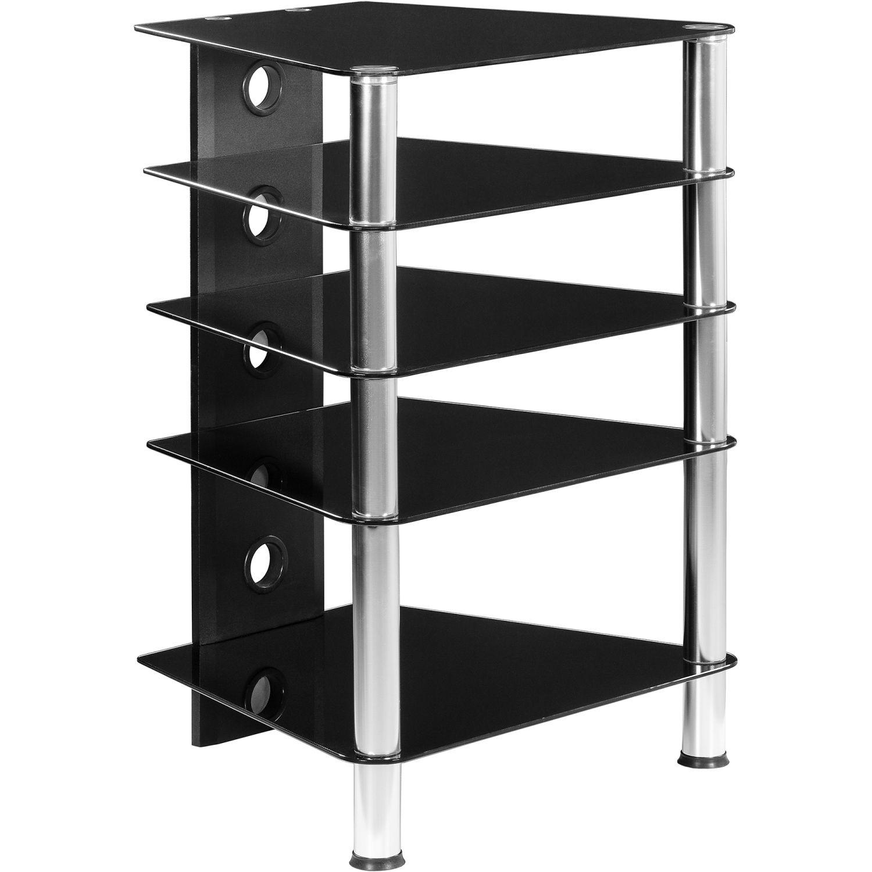 TV Rack Wardrobe Stand Furniture Regal HiFi Audio Glass Black glass
