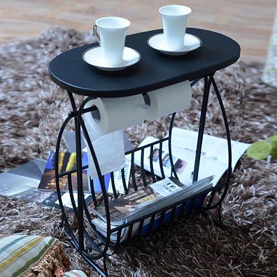 Fashion Design Multi-Functional Metal Magazine Coffee Cafe Tea Table With Black Home Iron Shelf Stan
