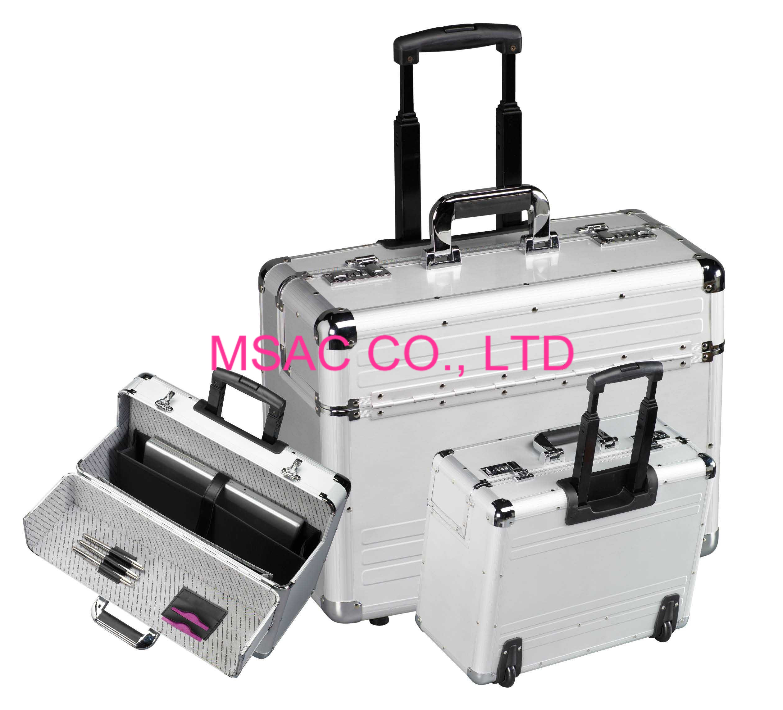 Aluminum attache case with trolley for carrying computer and document