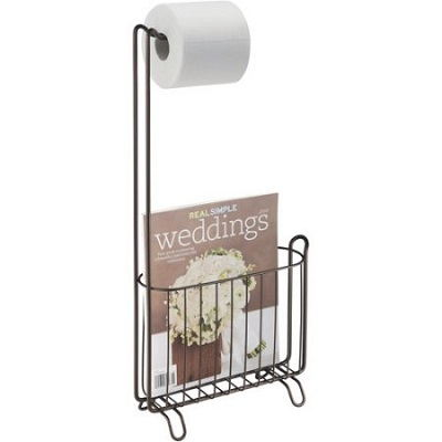 Free Standing Classic Toilet Paper Roll Holder With Magazine Rack Bathroom Home Décor