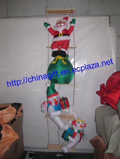2.4 Meter Inflatable Christmas Santa Claus & Snowmen Climbing a Rope Ladder