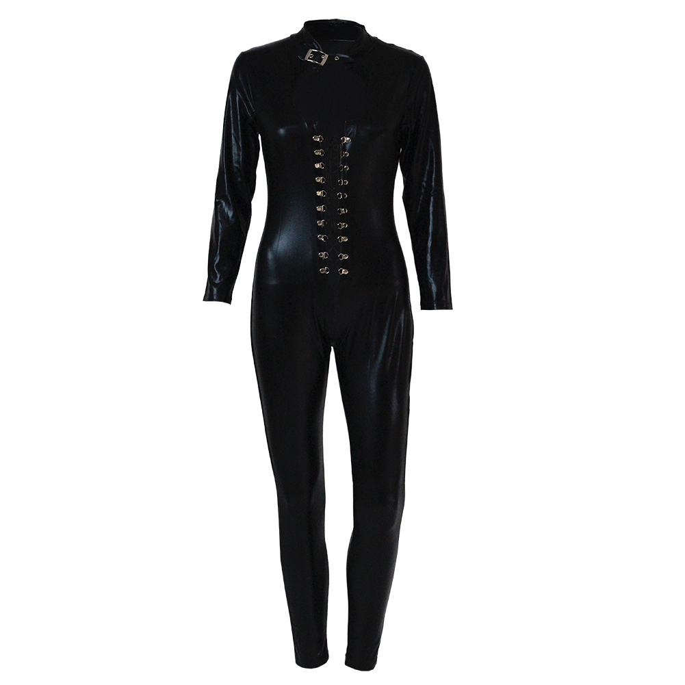 Womens Leather Jumpsuit Cat Costumes Sexy Bodyduit Clubwear