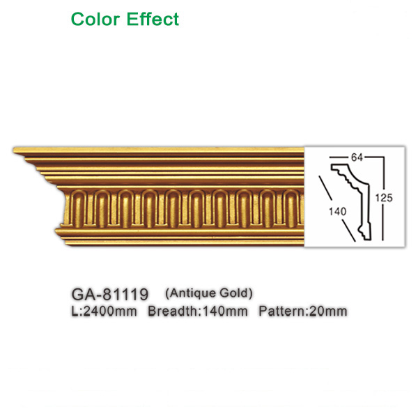 Antique style gold crown moulding for ceiling (Polyurethane )