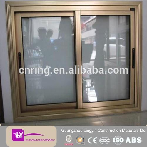 2017 double temper glass champagne color aluminum sliding window