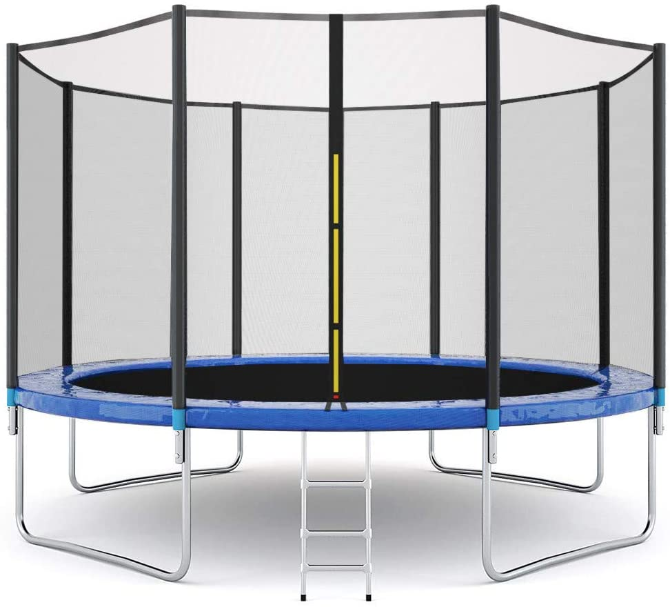 Jumping Bed Trampoline with Safety Net Bungee Big Children Double Protection with Zipper and Buckle