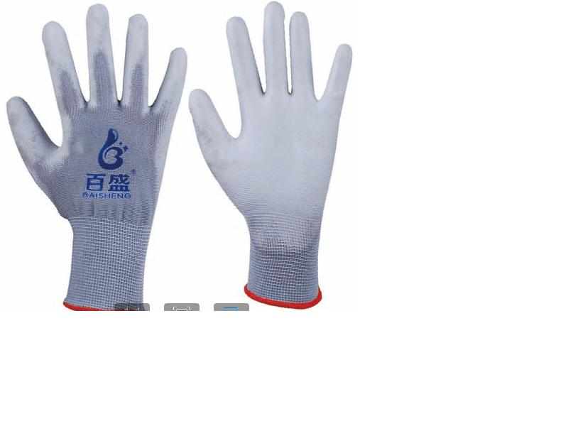 13G polyester glove with grey PU coated.