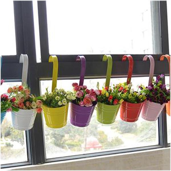 Flower Pot Hanging Balcony Garden Plant Metal Iron Planter Home Decor Convenient