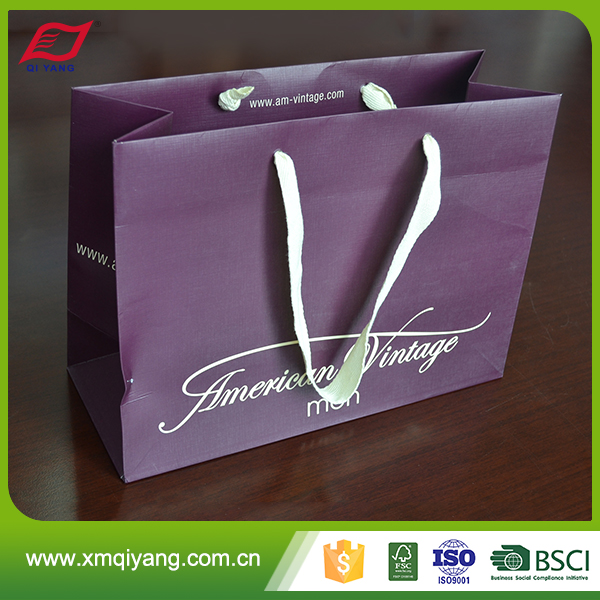 Promotional custom design high quality retail paper carrier bag