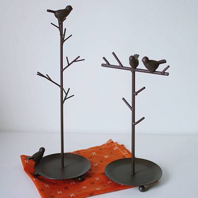 Shabby Chic Birds Metal Jewelry Holder For Earrings Necklaces Bracelets Stand