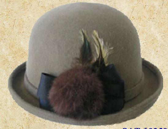 100% wool felt bowler hat with decorated bobbles