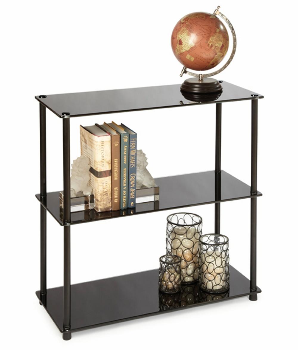 Convenience Concepts Black Classic Glass 3-Shelf Bookcase