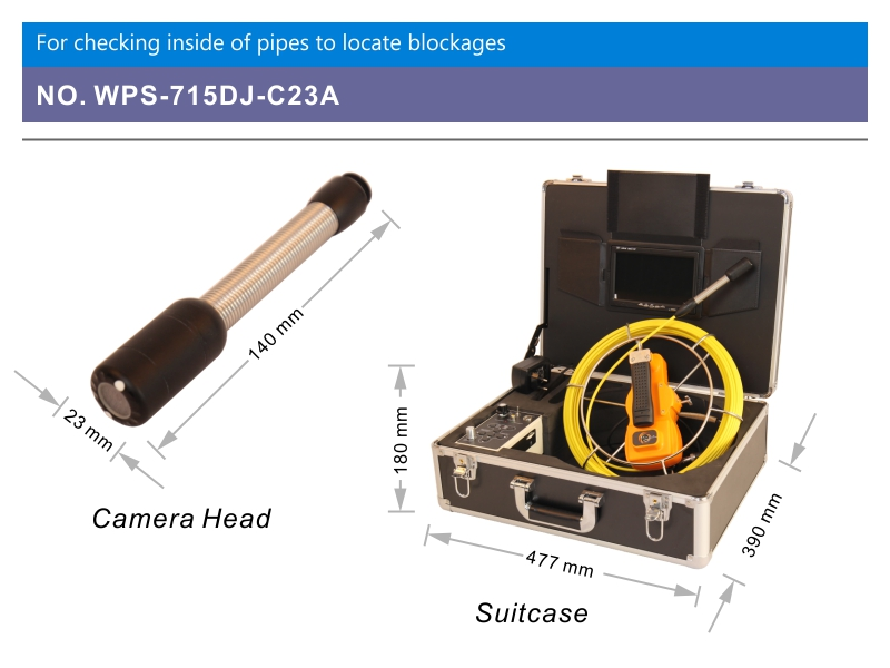 WOPSON new sewer pipe inspection camera with 23mm waterproof camera