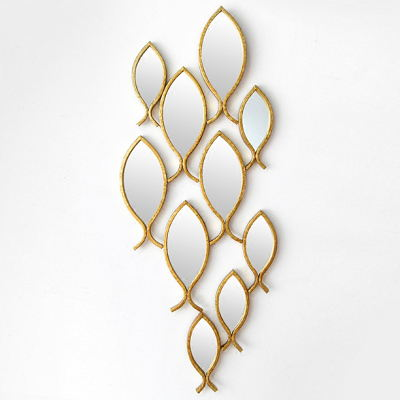 Large Wall Mounted Conbined With Fish Shape Metal Decorative Mirrors