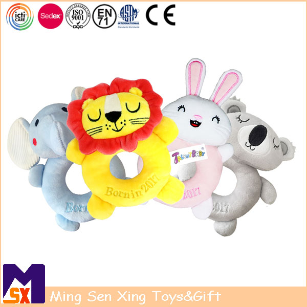 ICTI Factory Soft Baby Rattle Plush Toy cute Baby Boy Gifts Baby Boy Toys