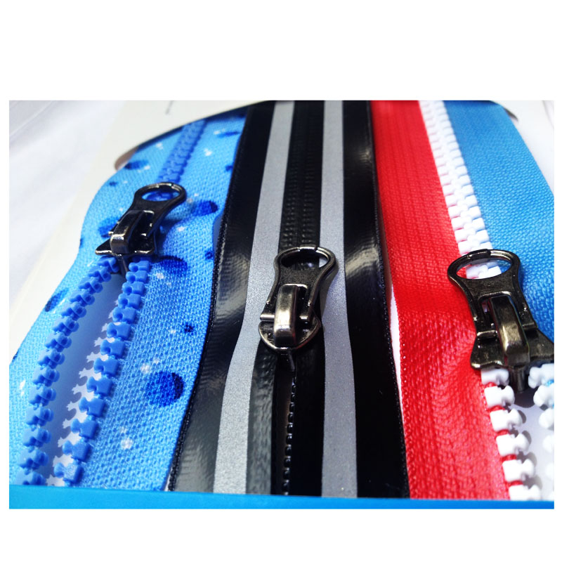 High quality auto lock puller colorful waterproof zipper