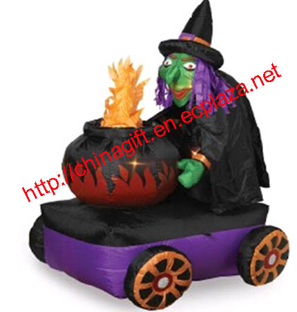 1.8M Halloween Inflatable Witch with Cauldron