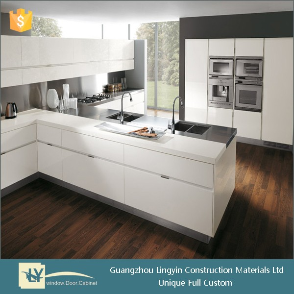 Fully customized modern kitchen design white high gloss lacquer kitchen cabinet