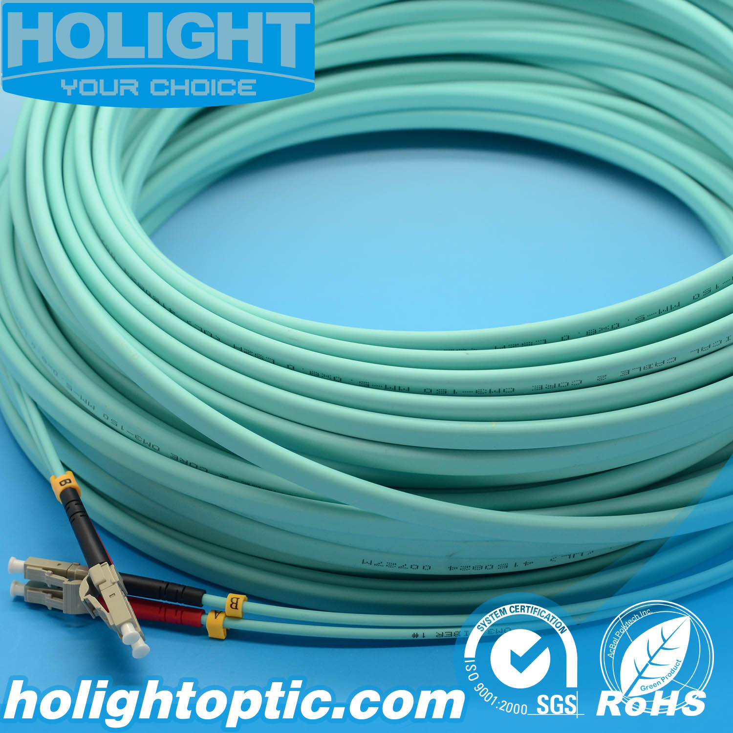 LC Duplex Om3 10g 3.0mm Aqua Optical Fiber Patch Cord