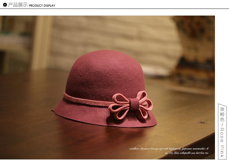 graceful 100% wool bowler floppy cloche felt hat