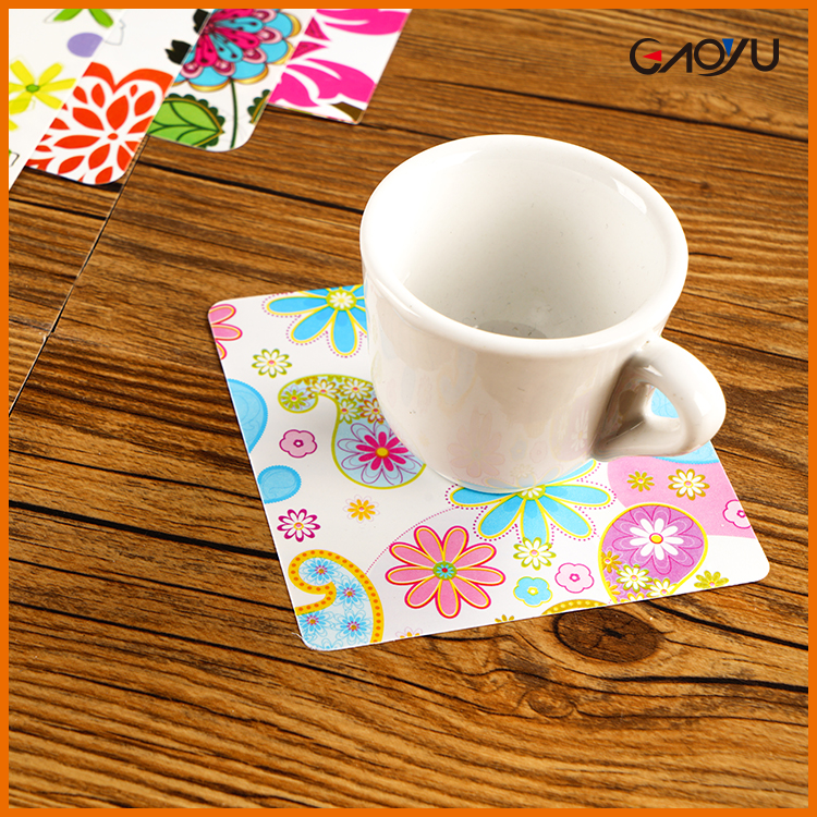 New Arrival Easy Cleaning Waterproof square flower pattern clear plastic coffee coaster