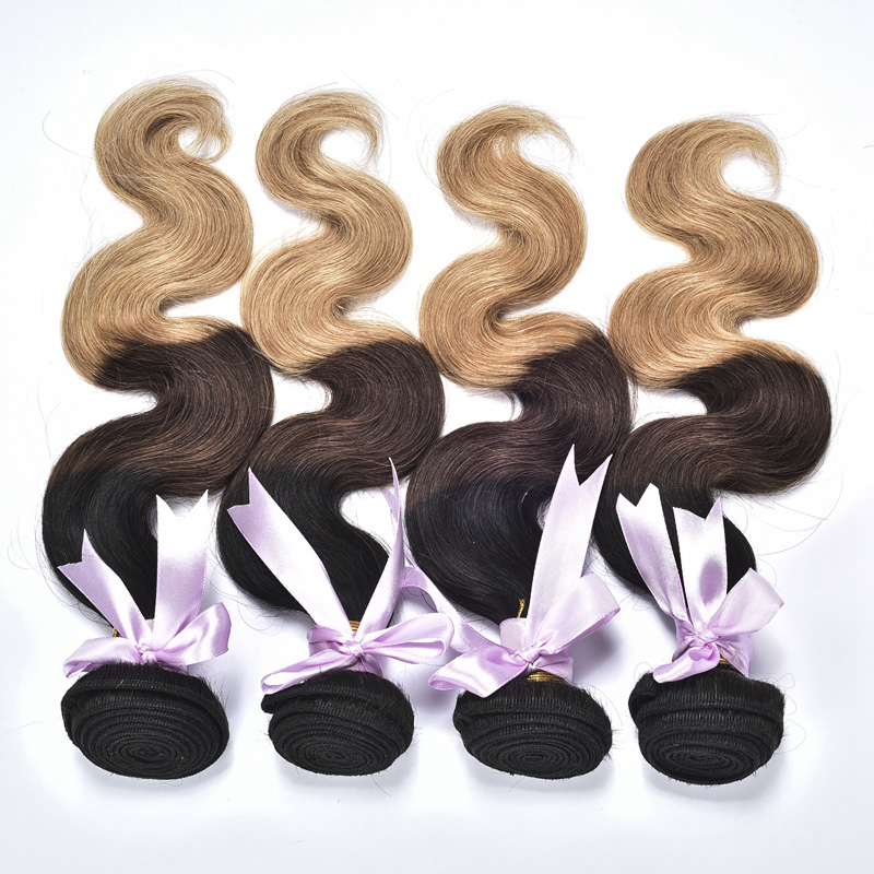 Beauty And Sexy Three Color Body Wave Sew In Human Hair Weave Ombre Hair Extensions